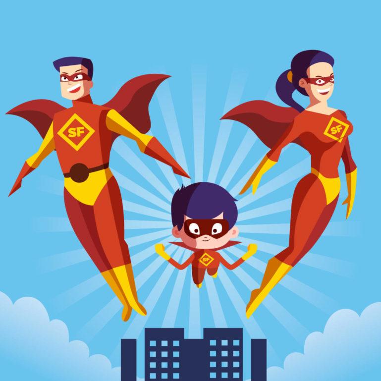 park rozrywki rodzina super bohaterów